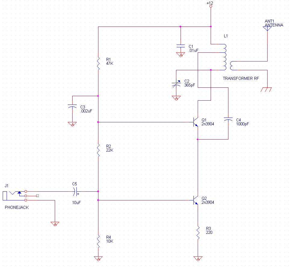 Radio Projects Am Transmitter Circuit Common Base Oscillator With Modulator