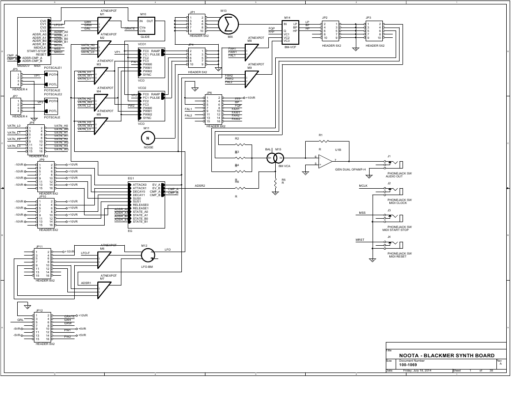 Synth Module Board Using Blackmer Vca Synthesizer Wiring Diagram September 2 2014